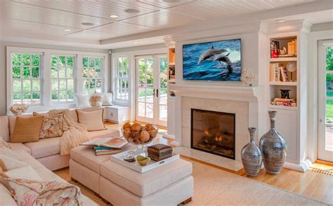 how to decorate a large family room cape cod shingle beach house with coastal interiors home