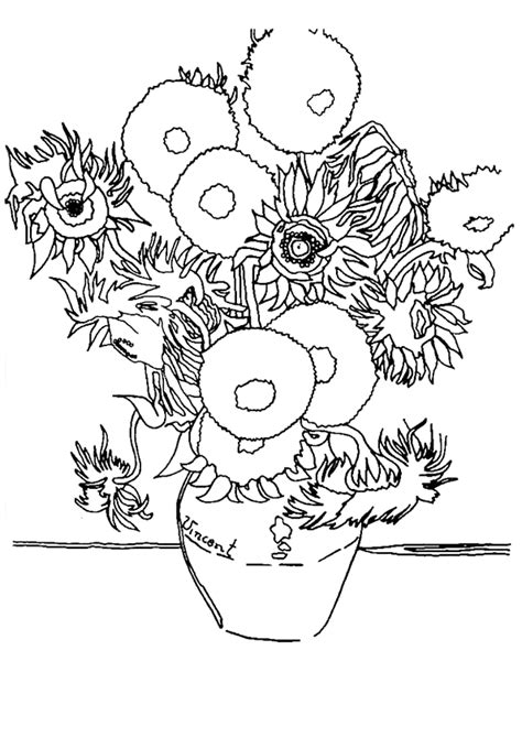 printable coloring pages van gogh coloriage les tournesols de van gogh hugolescargot com