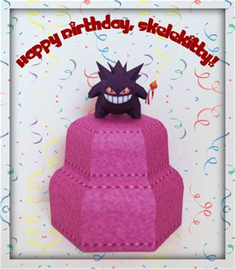 Papercraft Happy Birthday - paperpok 233 s pok 233 mon papercraft happy birthday skelekitty