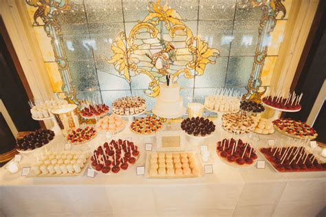 dessert table wedding cocoa fig classic 2 tier cake and mini dessert table