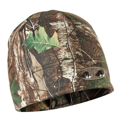 home depot real tree powercap real tree xtra camo 4 led winter beanie lighted hat cubwb 4744 the home depot