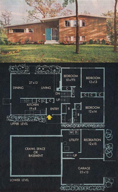 bh split level mid century modern floor plan repinned