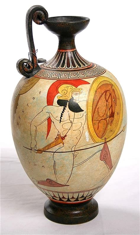 Ceramic Vase Artists Two Warriors With Shields White Figure Greek Vase Greek Vases Museum Vases Famous Heroes