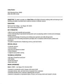 Teller Sle Resume by Banking Resume Sles 45 Free Word Pdf Documents