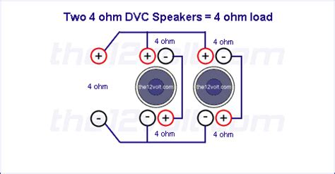 ohm load wiring diagram subwoofer wiring diagrams two 4 ohm dual voice coil dvc speakers