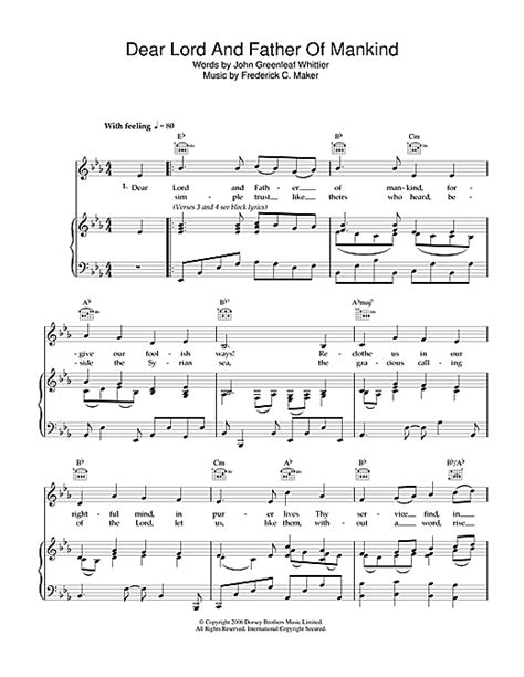 tutorial piano father and son dear lord and father of mankind sheet music by traditional