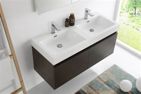 double sink wall mounted vanity fresca mezzo 48 inch gray oak wall mounted double sink