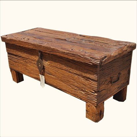 Coffee Table Rustic Wood Rustic Railway Road Ties Reclaimed Wood Coffee Table Storage Box Trunk Chest Ebay