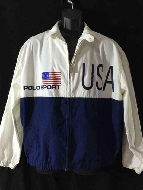 Rompi Scotlite Polos Size L 90s blue white polo sport usa ralph windbreaker jacket mens size l cotton ebay