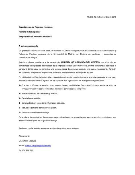 Modelo De Carta De Presentacion De Un Curriculum Vitae Modelo De Carta De Presentaci 243 N 04 M 225 S Entrevistas De Trabajo Carta De