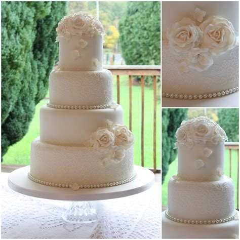 Vintage lace and pearls wedding cake www.facebook.com