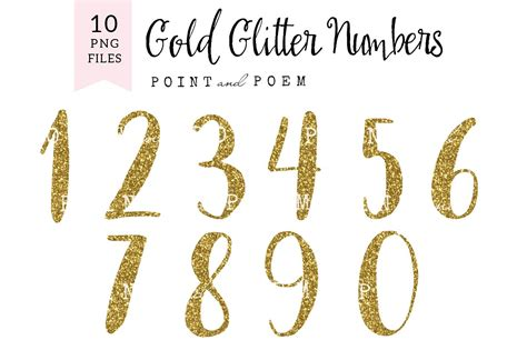 numeri clipart glitter numbers clip arts illustrations creative market