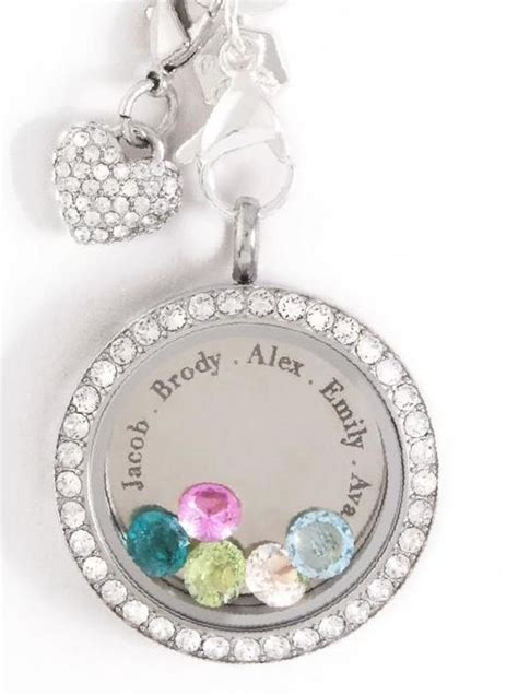 Origami Owl Birthstones - or grandmother large locket with incriptions with