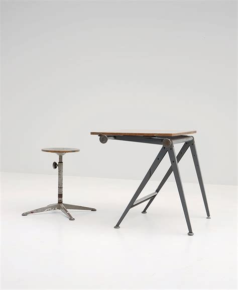 Drafting Table Stool Mid Century Reply Drafting Table And Stool By Friso Kramer Wim Rietveld For Ahrend De Cirkel