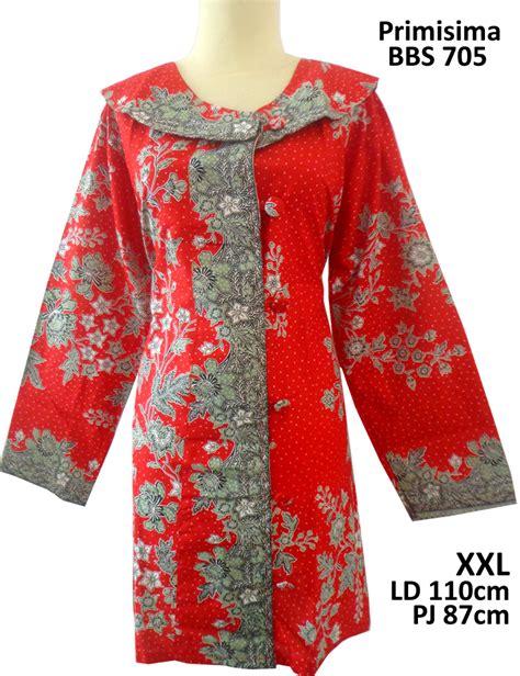 Tunik Bigsize Motif Bunga jual tunik batik big size primisima kerah oval panjang batik code batik modern