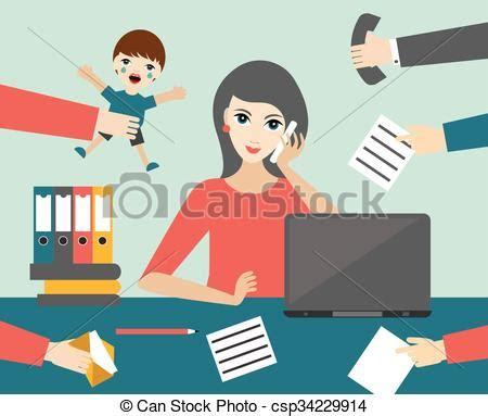 clip vecteur de plat occup 233 bureau commis femme