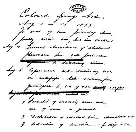 Nikola Tesla Colorado Springs Notes 1899 1900 Nikola Tesla Colorado Springs Notes 1899 1900 Tesla Image