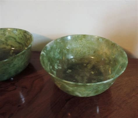 pair antique 19th century carved jade bowls from