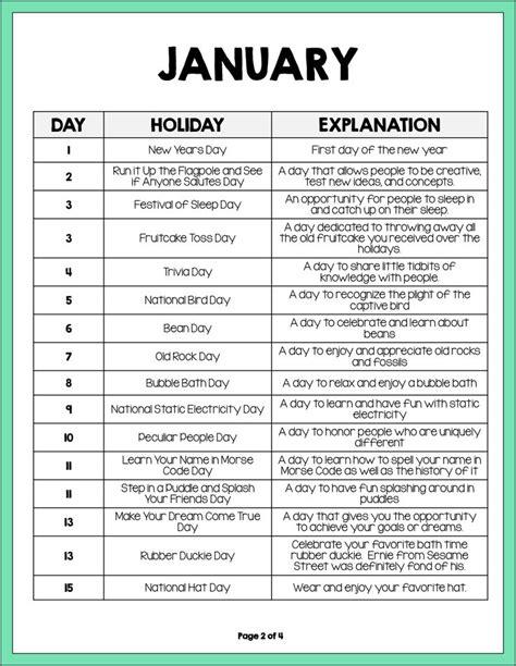 Calendar 2018 National Days Holidays To Celebrate In January 2014 Grade