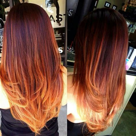 red and blonde hombre pics burgundy roots flame highlights for the middle