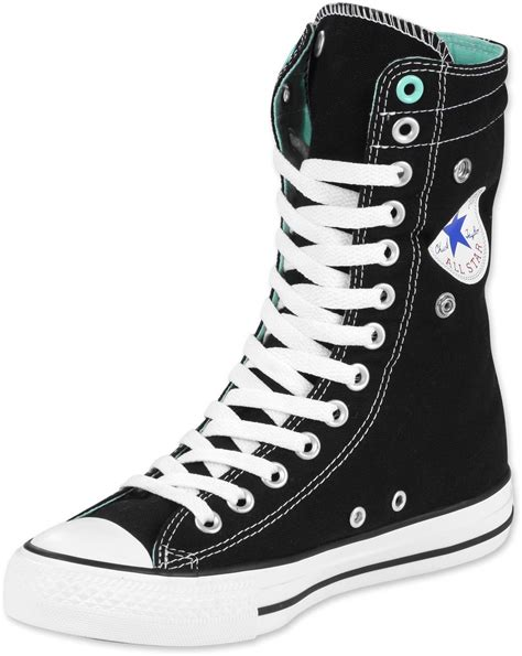 Converse High Convers Allstar converse all knee hi w shoes black turquoise