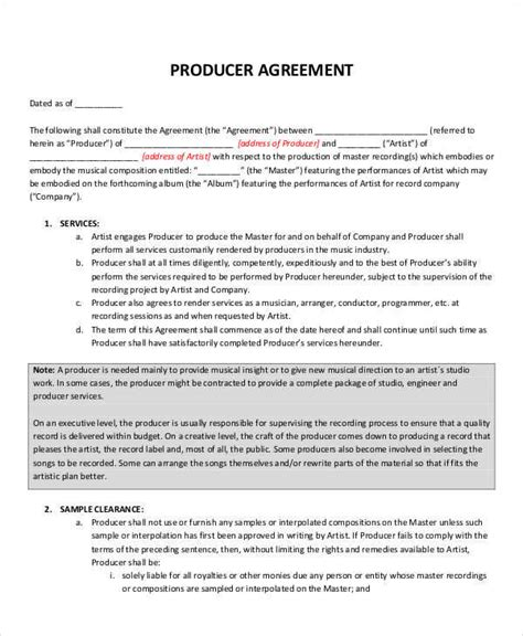 co production agreement template production contract template 8 producer