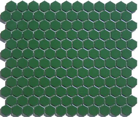 pine green hex tile satin glazed porcelain hexagon tile