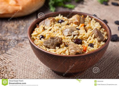 traditional bowl food bowl of traditional arabic national rice food stock