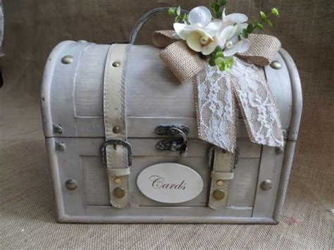 shabby chic cream wedding trunk wedding card holder card box money holder wedding suitcase