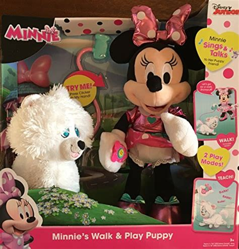 minnie mouse walk and play puppy just play minnie s walk play puppy feature plush wantitall