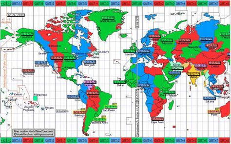 world cities time zone map maps world map with time zones