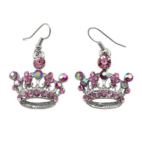 pink princess crown tiara dangle earrings silver tone