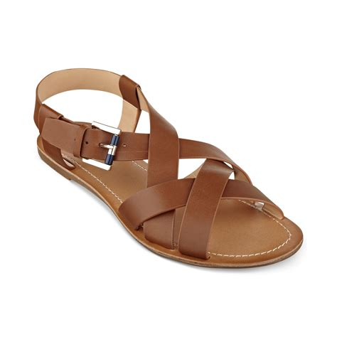 hilfiger flat shoes hilfiger womens lorinda flat sandals in brown lyst