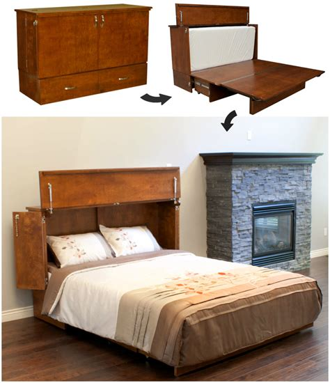 space saving desk bed this cabinet turns into a bed in seconds living in a shoebox