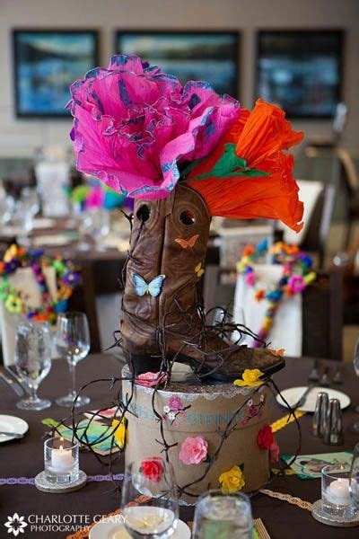 cowgirl boot centerpiece for western theme party brits