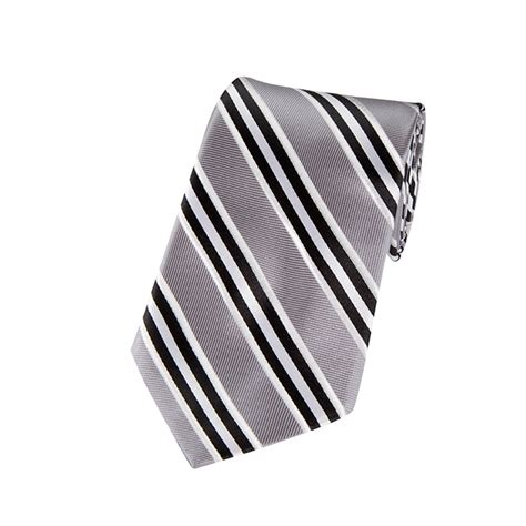 Silver And White L by L 07 Black Silver And White Narrow Striped Woven Necktie