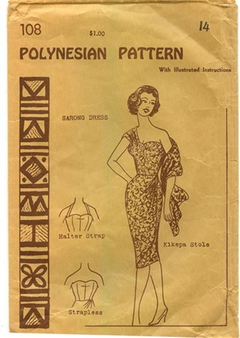 hawaiian sarong dress pattern vintage sarong dress pattern size 14 polynesian 108