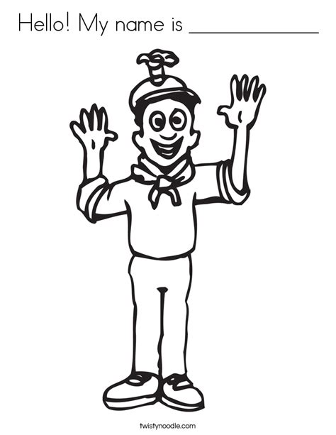 hello my name is coloring page twisty noodle