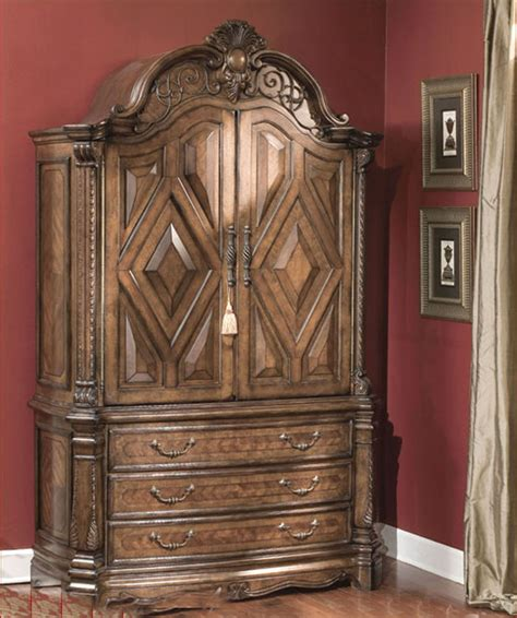 aico armoire aico armoire windsor court in vintage fruitwood ai 70080tb 54
