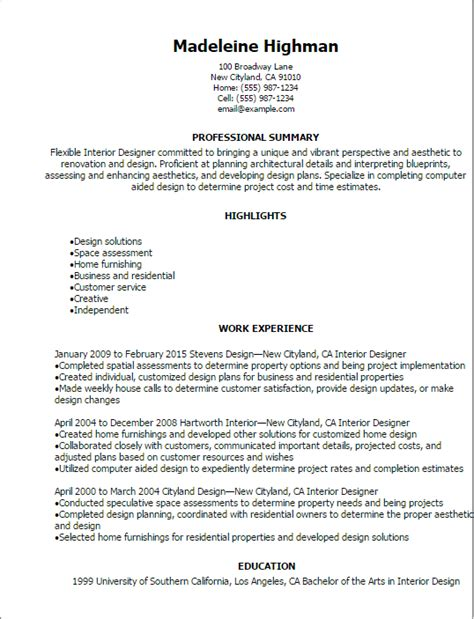 Resumes For Interior Designers by Professional Interior Designer Resume Templates To