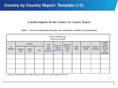 country report template international and domestic transfer pricing
