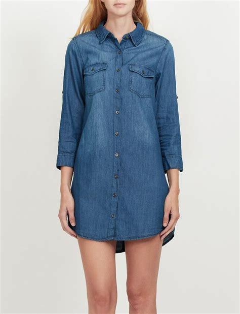 3 4 Sleeve Denim Shirt womens cuffed 3 4 sleeve chambray denim shirt dress