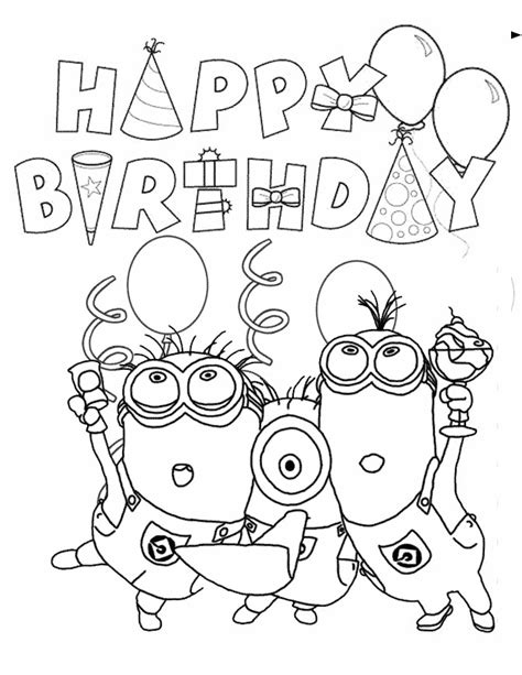 Minions Coloring Pages Birthday | minion birthday coloring page h m coloring pages
