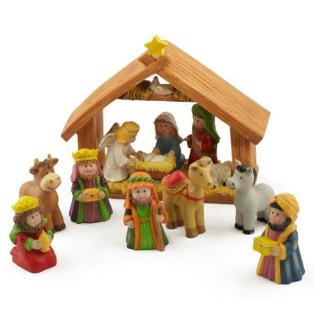 small nativity figures 5 quot x 6 quot manger miniature nativity set with 2 quot resin figurines walmart