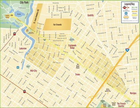 new orleans in map of usa new orleans esplanade ridge map