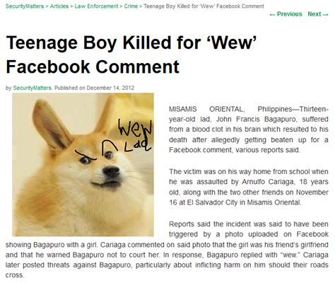 Wew Meme - teenage boy killed for quot wew quot facebook comment wew lad
