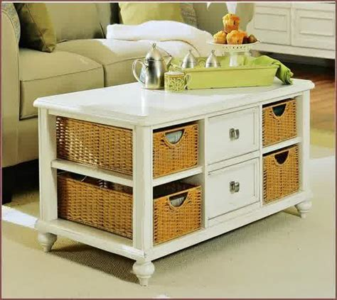 White Coffee Table With Baskets White Finished Wood Coffee Table Idea With Drawers And Baskets White End Table Set Furniture