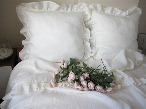 shabby chic bedding queen top sheet white  ivory linen