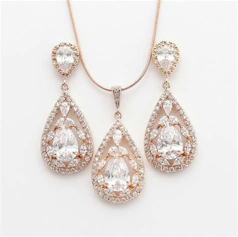 Set Necklace Earrings C73934 Gold gold jewelry set pink gold wedding earrings and