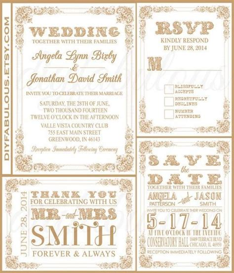 printable wedding invitation suites printable white and gold wedding invitation suite diy